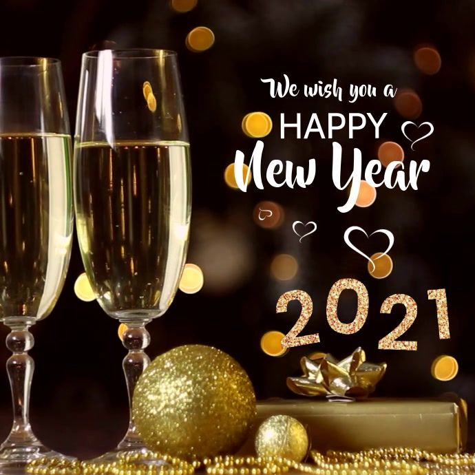 Happy New Year 2021 Video Wishes Gold Champagne Background