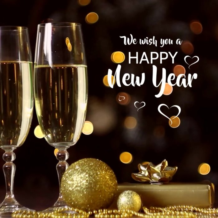 Happy New Year 2021 Wishes Gold Champagne Background