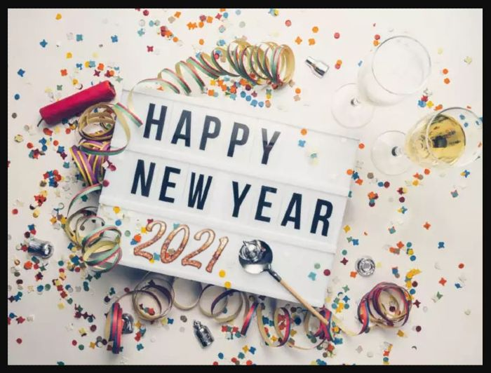 happy new year greetings 2021 - glitter background