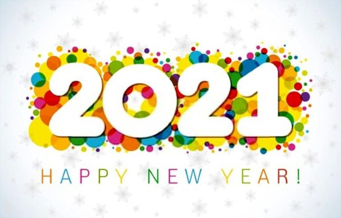 2021 happy new year- bubble colorful background
