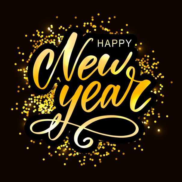 happy new year - gold sparkling background