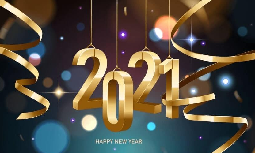 Happy New Year 2021 Images golden flying