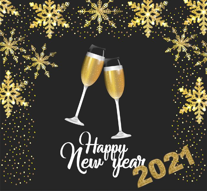 happy new year 2021- Cheers champagne glasses - for friends