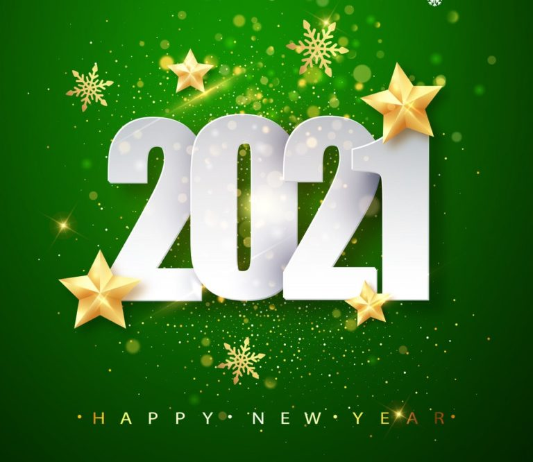 Green Happy New Year 2020 Greeting Card with Confetti Frame. Vector Illustration. Merry Christmas Flyer or Poster Design.