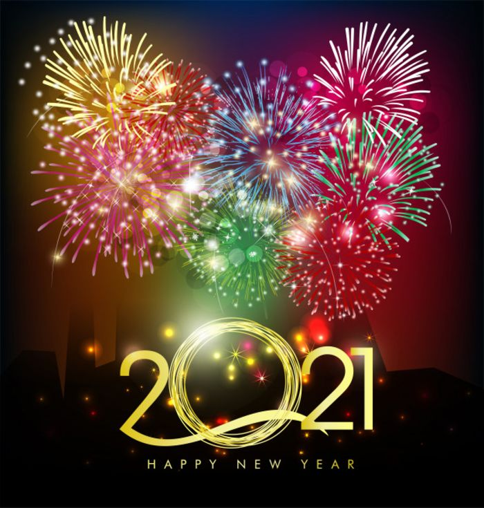 happy new year 2021 greetings crackers explode in the sky